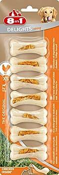 8in1 Delights Strong XS - Os à Mâcher ferme garnis de poulet pour Chien Adulte de Petite Taille - 7 pièces