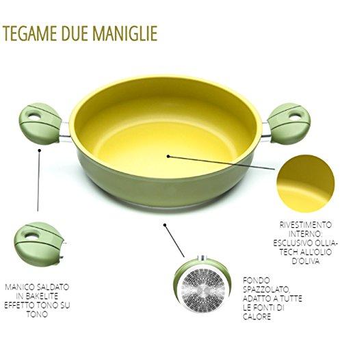 ILLA Pfanne 2Griffe Antihaft in Olivenöl 100% Made in Italy Durchmesser 24cm olivilla Küche