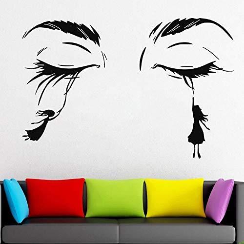 Salón De Belleza Señoras Pestañas Faciales Pestañas Apliques De Pestañas Etiqueta De La Pared De Pestañas Vinilo Decoración Para El Hogar Papel Tapiz Extraíble Mural 86X57 Cm