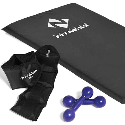 Kit Ginastica Treino Fitness Musculação Academia Colchonete + Par de Halter 1kg + Caneleiras 2kg