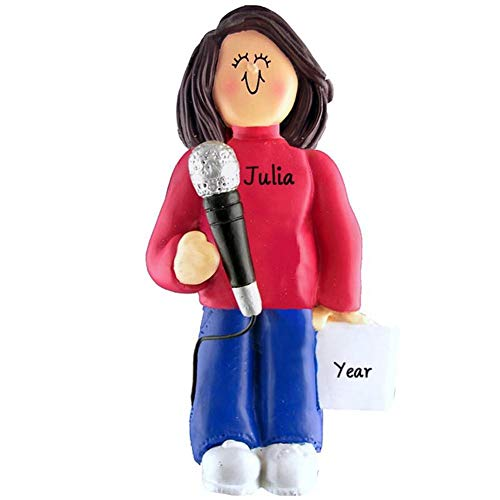 DBK Singing Singer Microphone Personalized Music Christmas Ornament Personalized Free (Female Brown Hair)