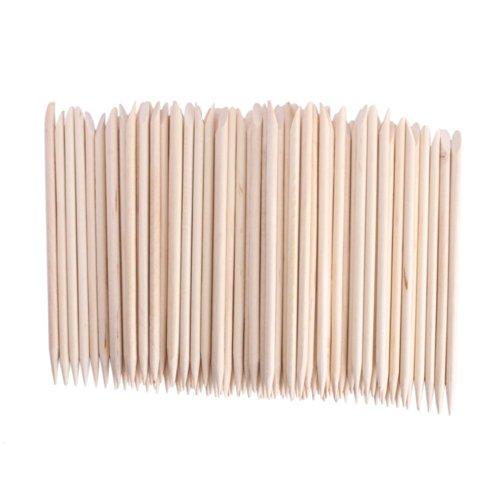 Adecco LLC Orange Sticks for Nails,Wooden Cuticle Sticks, Manicure Sticks Pedicure Tool 110mm (50P)