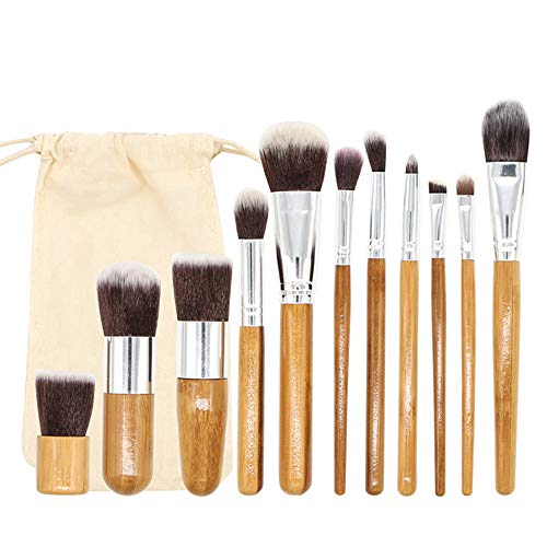 Ogquaton - Juego de 11 pinceles profesionales de bambú para maquillaje,...