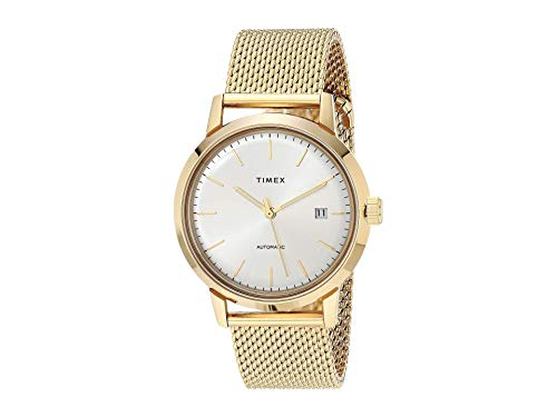 Timex Men's Marlin Automatic 40mm Watch – Silver-Tone Dial with Gold-Tone Case & Stainless Steel Mesh Bracelet