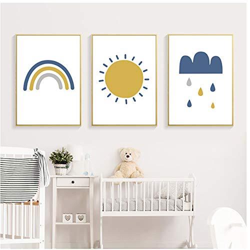 A&D Sonne Regenbogen Wolke Kinderzimmer Dekor Leinwand Gemälde Wandkunst Bilder Poster Drucke für Kinderzimmer Wohnkultur -20x28x3 IN No Frame