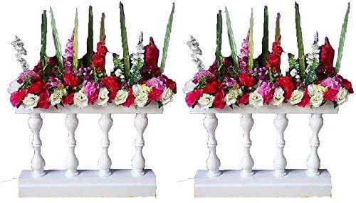 GLF Estante de Flores de Valla de Hierro Forjado para Bodas para Eventos de Banquetes de Boda, arreglos Florales para cenas, Blanco