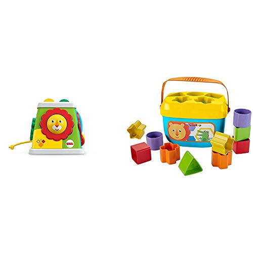 Fisher-Price Safari Entdeckerwürfel mit 5 Spielmöglichkeiten, Spielzeug ab 6 Monaten & Babys Erste Bausteine Baby Spielzeug Formensortierspiel mit Spielwürfeln und Eimer zum Verstauen ab 6 Monaten