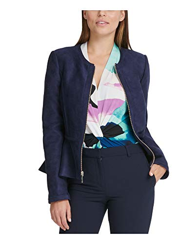 DKNY Womens Faux Suede Lightweight Peplum Jacket Navy 12