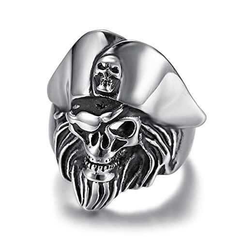 Anillo De Acero Inoxidable Pirata Nórdico Vikingo Tuerto para Hombre Anillo De Calavera Punk De Piratas del Caribe,10