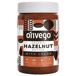 ORIVEGO Mantequilla de avellanas orgánica con cacao, 450g – Crema de avellanas 100% natural, vegana, sin azúcar y con certificación de producto orgánico