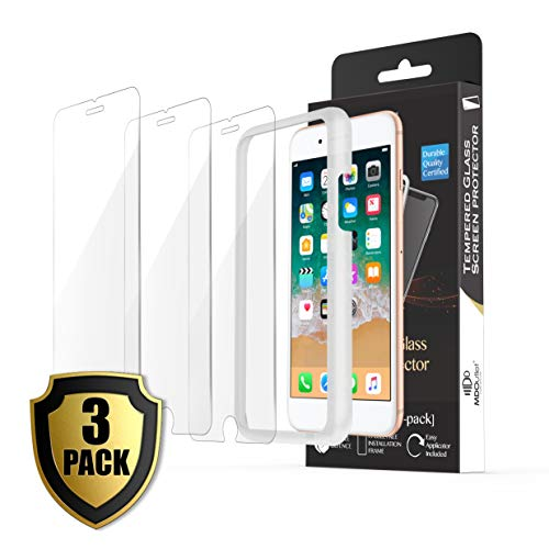 (3-Pack) iPhone 8, 7, 6S, 6 Screen Protector 9H Hardness MDOutlet Anti-Shatter Tempered Glass 99.9 HD Clarity and 3D Touch Accuracy (with Easy-Applicator)