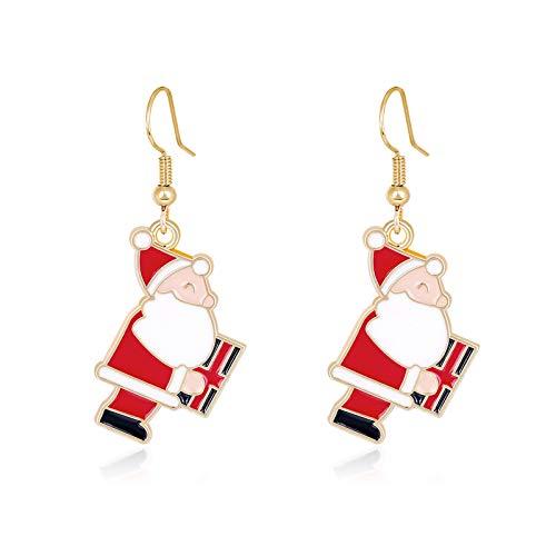 Clest F&H Pendientes de Papá Noel adorables, regalo de joyería para mujer