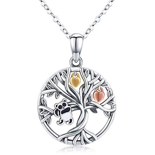 TRISHULA Tree of Life/Panda/Star/Celtic Knot/Sloth Pendant Necklace, Hypoallergenic Family Tree Necklace Jewelry Gift for Women Men Girls 18''+2'' Extender (Gift Box Included)