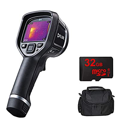 FLIR (63901-0101 E4 Infrared Camera w/ 80x60 IR Resolution & MSX Image Enhancement w/Compact Deluxe Gadget Bag + 32GB MicroSD Memory Card and 1 Year Extended Warranty Essential Bundle