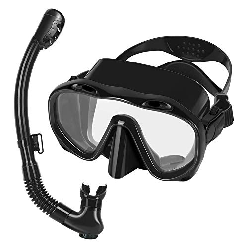 Y-H Snorkel Set Máscara de buceo Dry Top Snorkeling Gear Anti-niebla Vidrio templado Panorámico Vista amplia Gafas de buceo Fácil Respiración Anti Fugas Kit de Snorkel