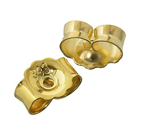 NKlaus 1 Paar 333 Gelbgold 8 Karat Gold 5,4mm Gegenstecker für Ohrstecker Ohrringe Ohrstopper Pousetten Ohrmutter Butterfly Schmetterling Verschluss Loch: 0,8mm 4820
