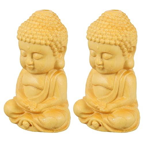 Veemoon Amuletos de Buda de Madera Colgante de Protección Amuleto de Buda de La Suerte Colgante de Joyería Decorativa para Collar Llavero Pulsera Amarilla 2 Piezas