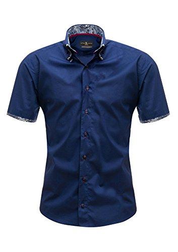 Giorgio Capone Herrenhemd, blau, Doppelkragen, Paisley-Muster, Kurzarm, Slim & Regular Fit (M Slim)
