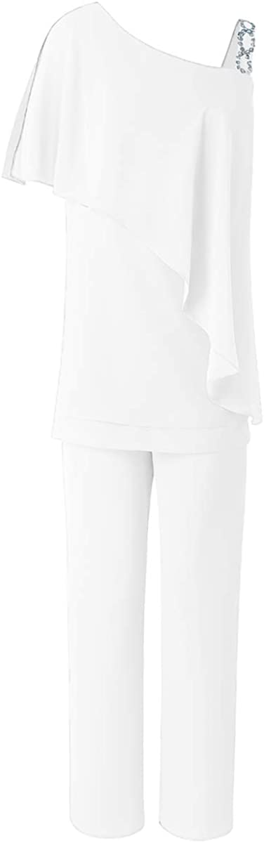 Zeattall Women's Two Pieces Chiffon Elegant Mother of The Bride Dress Pants Suits for Wedding Groom