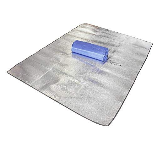 iSpchen Doppel Aluminiumfolie Aluminium Picknick-Matte Thermo-Campingmatte wasserdicht und isolierend im Freien Strandurlaub Zelt Matte