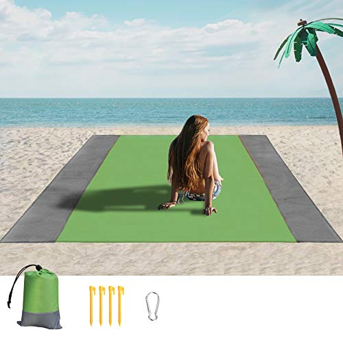 Sandfreie Stranddecke, wasserdicht, große Strandmatte, sanddicht, Picknickdecke für 3–7 Erwachsene, Reisen, Camping, Wandern, Musik-Festival, mit Tasche (23,8 x 200,7 cm)