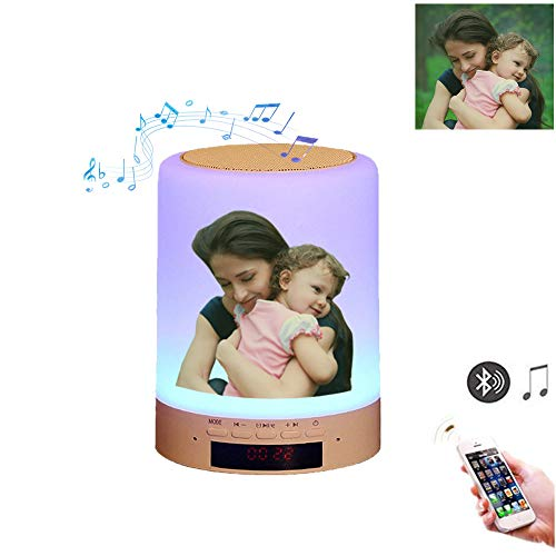 Kundenspezifisches Foto Nachttischlampe Stimmungslicht mit Bluetooth Lautsprecher, USB Wiederaufladbar Smart Touch Control Nachtlicht Musik Spielen Tischlampe für Schlafzimmer Kinder Geschenk