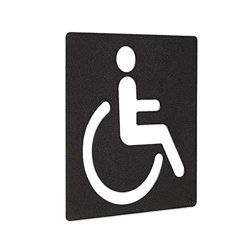 Cartel WC Movilidad Reducida-Baño Signo discapacitado-Cartel WC minusválido-Señal aseos minusválido-Letrero misnusválido-Placa de Metal autoadhesiva Negro Mate