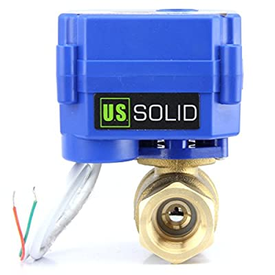 """U.S. Solid 1/2"""" Motorized Ball Valve 85-265V AC Brass Electrical Ball Valve, 2 Wire Auto Return Setup Normally Closed (Brass, 1/2"""") from U.S. Solid"""