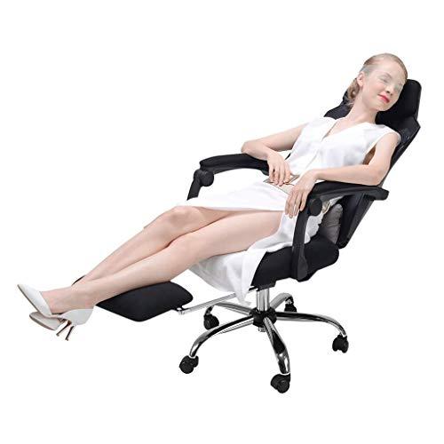 LULUTING Silla de Ordenador, Presidente Inicio Gaming Respaldo Giratorio Silla cómoda Silla reclinable Oficina 155 ° Respaldo reclinable Cargando 400Kg, Negro, 60 * 47 * 111cm