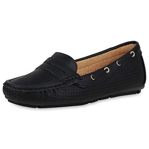 SCARPE VITA Damen Slipper Mokassin Flats Cut Out Freizeitschuhe Slip On Schuhe Leder-Optik Profilsohle Schlupfschuhe 190420 Schwarz Schwarz 36