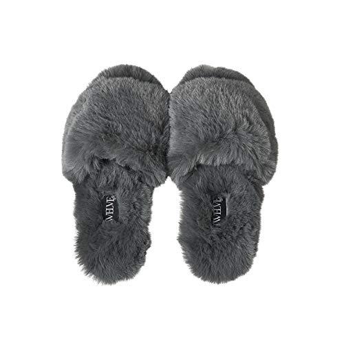 Twelve AM Co., So Good Fluffy Slippers (Grey, numeric_7)