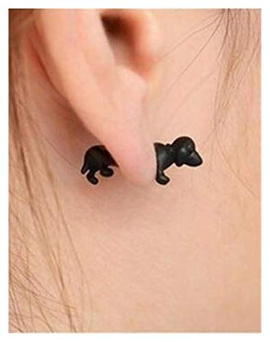 HLWJ. Punk Dinosaur Animal Cat Dog Deerphin Horse Spider Axed Stud Orecchini in Metallo Piercing Orecchini (Color : 1 Piece, Size : 10 Black)