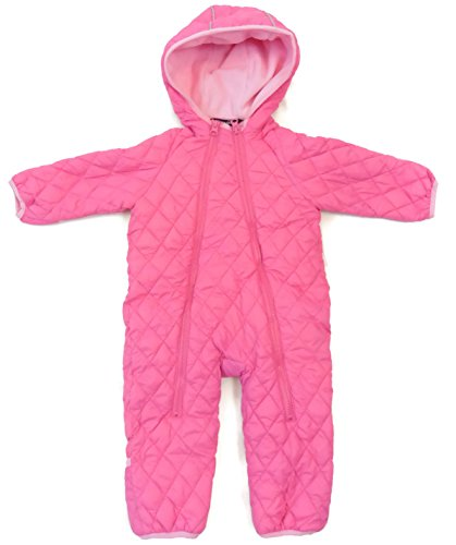 Snozu Infant and Toddler Fleece Lined Ultralight Quilting One Piece Snowsuit Pink 3/6M