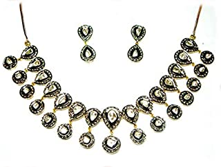 costozon uncut diamond necklace sets 32.25 Tcw Emerald Rose Cut Diamond 925 Sterling Silver art deco jewelry
