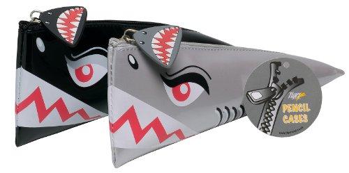 Tiburón estuche 3d Triangular novedad Papelería Bolsa de almacenamiento en negro/plata