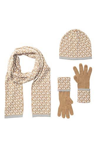 Michael Kors Set - Schal/Mütze/Handschuhe aus hochwertiger Acrylwolle - Beige/Braun - Damen - Lieferung erfolgt in Geschenkverpackung