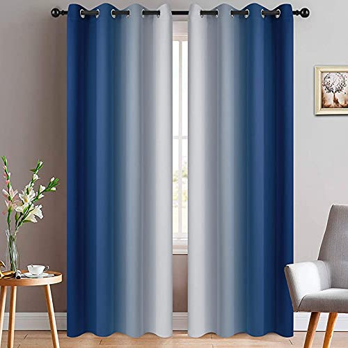 Yakamok Blue and Greyish White Ombre Curtains, Room Darkening Gradient Color Curtains for Bedroom, Light Blocking Thermal Insulated Window Drapes for Living Room(2 Panels, 52x84 Inch)