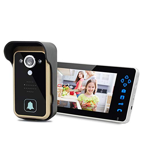 IGRNG Haustür-Kamera 7-Zoll-Wireless Video Intercom Türklingel, 100 ° Objektiv, Infrarot-Nachtsicht, IP55 Wasserdichtes Niveau