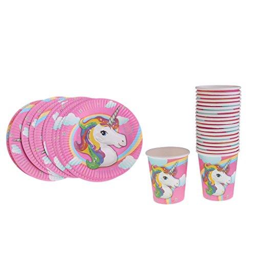 freneci 20 Piezas Lindo Unicornio Vasos de Papel Platos de Pastel Juegos de Vajilla de Fiesta de Cumpleaños para Niños