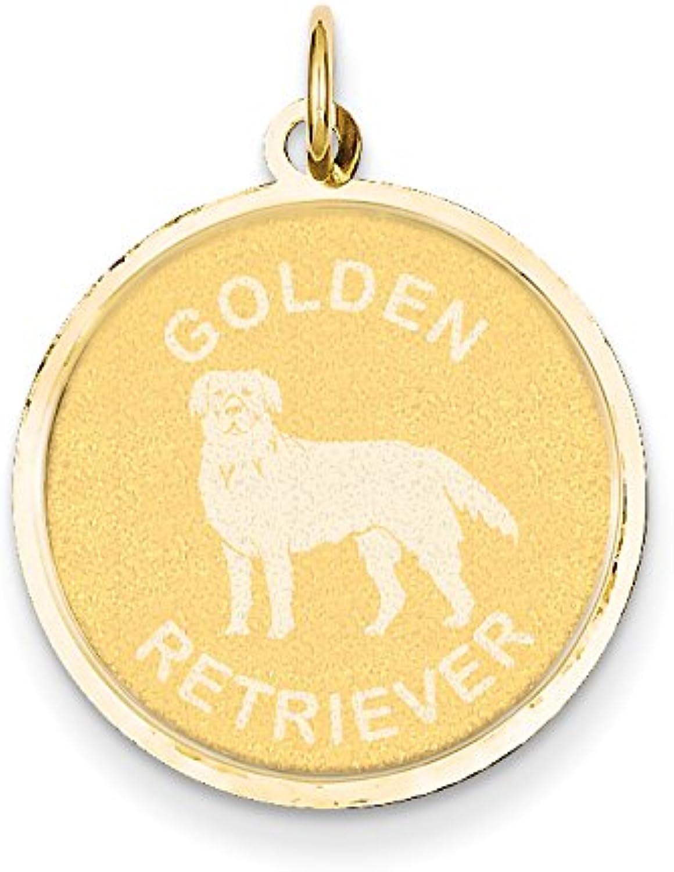 Diamond2Deal 14k Yellow gold golden Retriever Disc Pendant