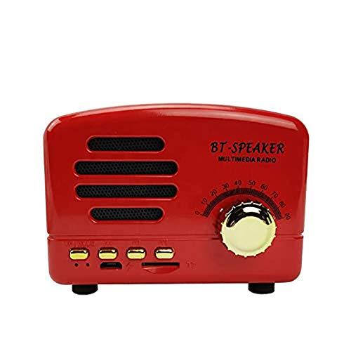 Tragbare Bluetooth 4.2 Retro-Lautsprecher mit Bass Wireless Mini Old Lautsprecher Integriertes Mikrofon, Stereo-Surround, for Reise, Wohnhaus, Außen LIUH (Color : Red)