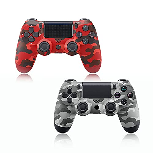 2 Pack-Game Controller for PS4,Wireless Controller for Playstation 4 with Dual Vibration Game Joystick(Red camouflage and grey camouflage)