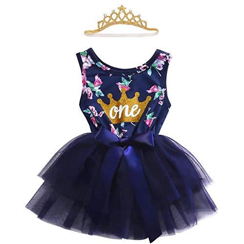 Vestido para recién nacidos para bebés y niñas de 1er cumpleaños con corona sin mangas/manga larga, vestido de tul para tarta, traje de fotografía