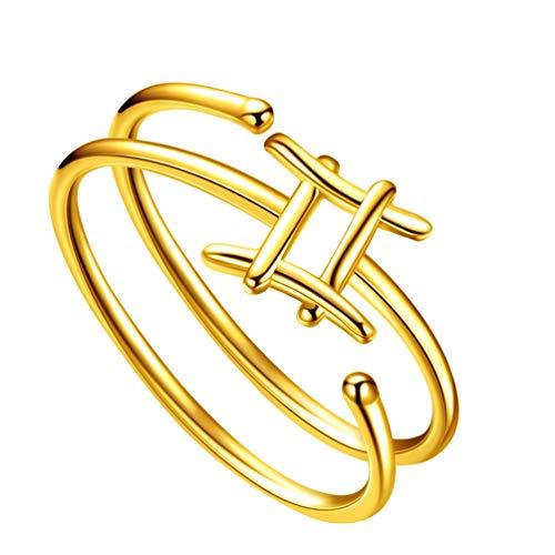 Jewmon Gemini Zodiac Ring Frauen Verstellbare Rhodinierte Sterling Silber Lünette Set Constellation Zodiac Rings Himmlischer Geburtstag Schmuck Geschenk für Mädchen FR0002G-Y