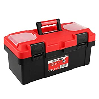 MAXPOWER Tool Box 16 inch Plastic Small Tool Box with Latch and Removable Tray Red