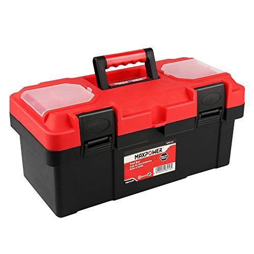 MAXPOWER 16-inch Toolbox, Plastic Tool Box Tool Chest Storage Case Organizer with Removable Tray and Dual Latch