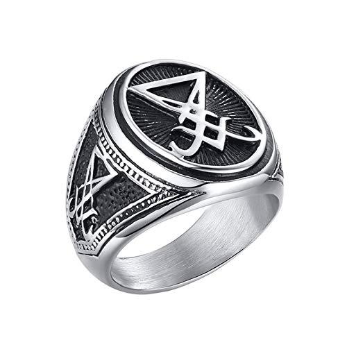 EzzySo Anillo Satan Signet, joyería de Anillo de aleación Secreta gótica sellada Americana (2 PCS),12