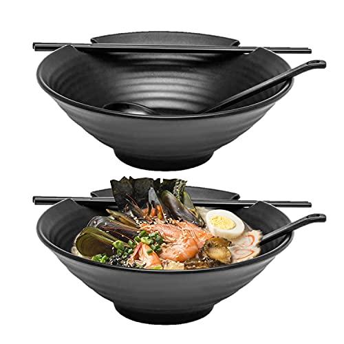 2 x Ramen Bowl Set, 6pcs Set with Chopsticks, Black Melamine Bowls with Ladle Spoons and Large 37 oz Noodle Bowl
