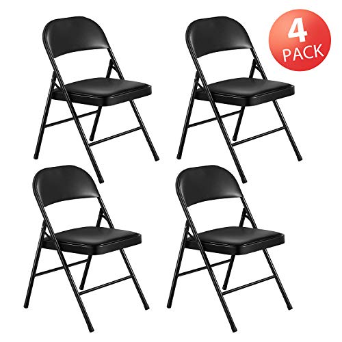 Kealive Folding Chair Steel Upholstered Padded Seat and Back 4 Pack Vinyl Padded Folding Chairs Stacked Double Hinged 480 lbs Weight Capacity 4 Padded Dining Chairs Metal Frame Black