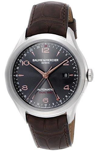 [ボーム&メルシエ] 腕時計 クリフトンデュアルタイム グレー文字盤 自動巻 アリゲーター革 裏蓋スケルトン MOA10111 並行輸入品 ブラウン